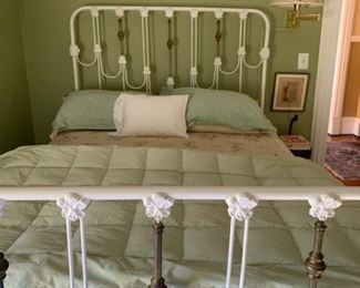Solid antique double iron bed with brass detail