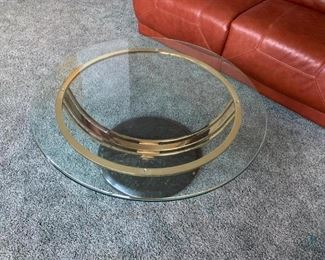 Two Glass Top and Brass Base Tables