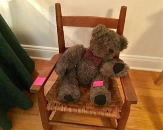 Shaker child's rocker, nice vintage jointed bear