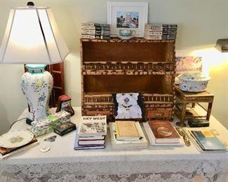 Key west items, Hemingway books, Florida books, vintage bamboo, limoges, Florida art