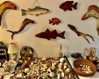 Carved drift wood and hard wood fish