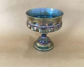Carnival glass Imperial pedestal dish