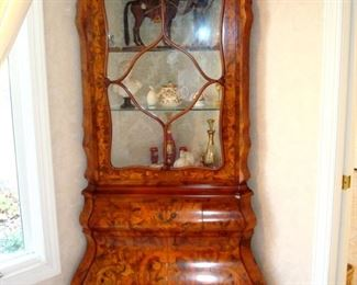 Hand made and intricately  inlaid Italian china cabinet with paw feet,