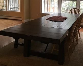 Pottery Barn 10' table with matching bench  with 2 removable leaves...just fabulous!