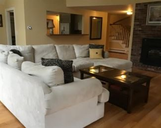 Large oh so comfortable sectional.      Great large coffee table