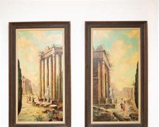 Two antique framed paintings on canvas by A. Santani. Signed lower right. Possibly Anelma Santini (b. 2896).