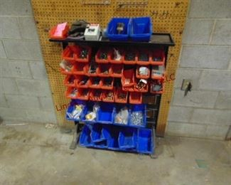 Freestand sorter bin w/ 42 bins, some contents