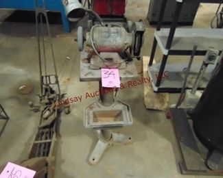 "Delta bench grinder on stand 33"" tall (WORKS)"