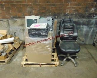 Pallet of office items: 2 file cabinets, printer,