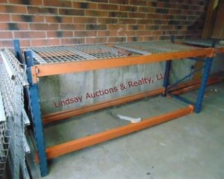 3 sections pallet racking w/ 2 shelves,