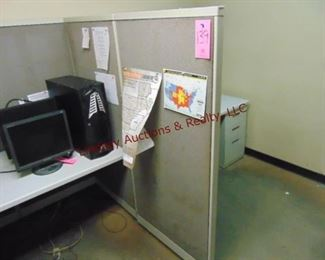 2 office cubicals w/ file drawers,