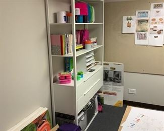 shelving with drawers. paper composite wall boards.