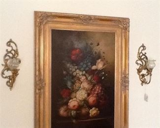 Large old painting of flowers. Beautiful frame.