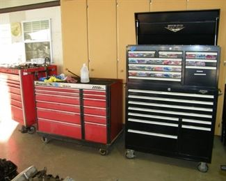 we have three large tool boxes 2 snap on, and one victor