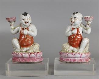 pair of Chinese porcelain boys w/ candle holders, possibly 19th c.