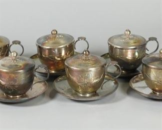 set of 6 Chinese silver tea cups w/ lids & saucers