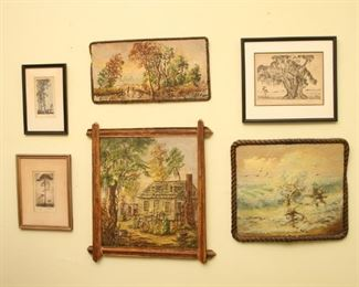 Three paintings by Jule Clyde Owens and etchings by Elizabeth White.