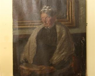 Antique painting of woman reading a book.