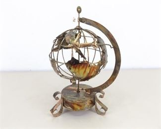 "Vintage Working 11"" Copper Tin Globe Travel Music Box"