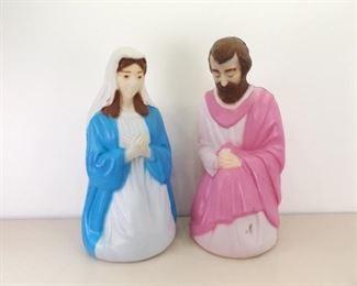 Vintage Blow Mold Lighted Mary and Joseph Lawn Ornaments