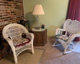 Wicker chair and wicker rocking chair