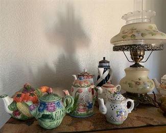Tea pot collection, hurricane lamp