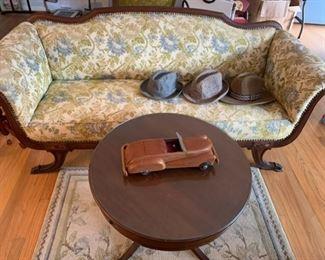 Antique sofa, wooden antique car