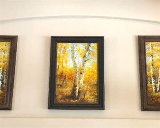 Set of three oil paintings on canvas $300