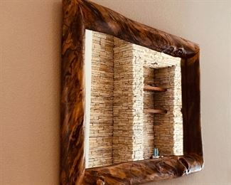 Large wall hanging mirror, $350  ( Wood from the hayman fire )