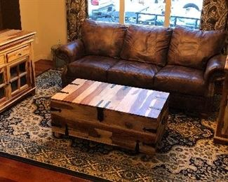 Leather couch $200, Rosewood coffee table $50 Rosewood buffet cabinet $75 Rosewood upright cabinet $50