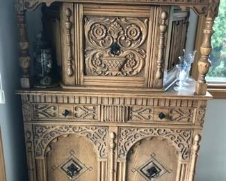 1923 Vintage Carved Oak Press/Court Cabinet