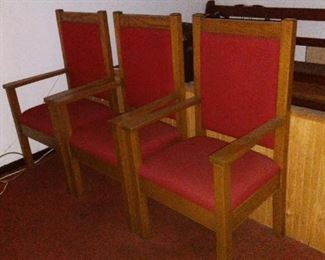 3 of 4 Upholstered Deacons Chairs, in nice shape and solid.