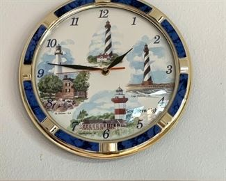 Lighthouse clock featuring several famous lighthouses.
