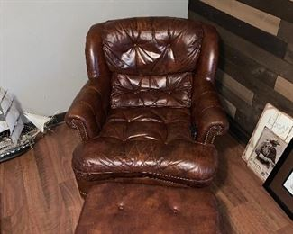 Tuft Leather chair & ottoman Reduced to $65