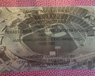 Genuine Box seat from Arlington Stadium Authenticity  guaranteed by Texas Rangers  Baseball Club, Arlington a Texas 76004
