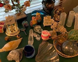 Stone Ikebana, seaside theme decor, vases, paperweights, anniversary clock and more.