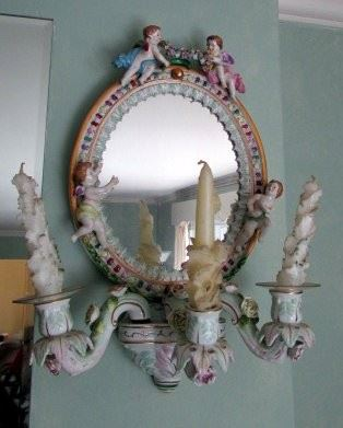 Dresden pair of mirrored porcelain sconces - house is packed with Vintage stuff !