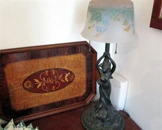 Inlaid wood tray, vintage lighting