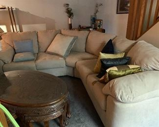 Like new sectional couch. Japanese hand carved nesting table