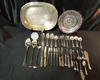 Huge mix of silver plate flatware, platters and Waterford Crystal clock