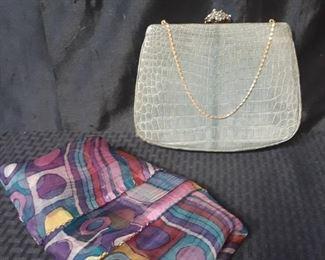 Rare 1950s vintage gray alligator purse