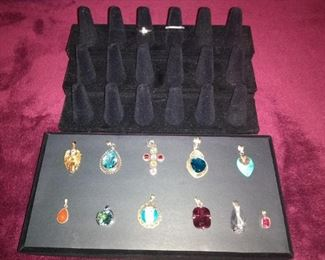 Sterling, and gold plate jewelry with CZ, amethyst and other stones