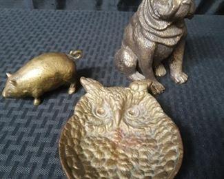 Vintage brass owl, pig dog