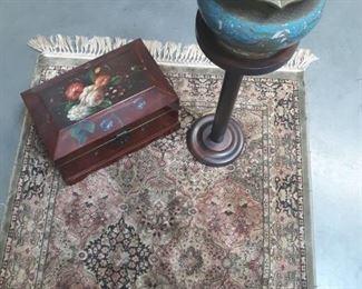 Beautiful carpet, plant stand, trinket box