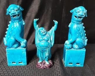 Bright blue Asian decor