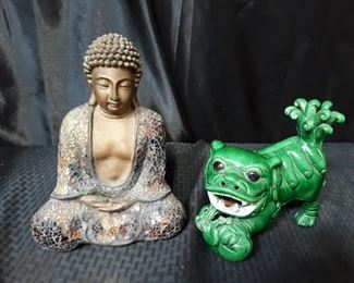 Buddha and foo dog figurines