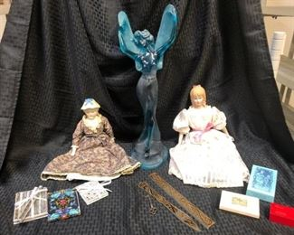Fairy statue, dolls, notepads, cards,