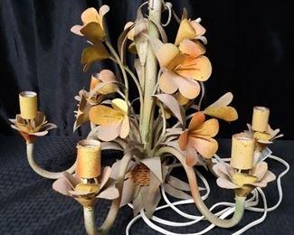 Floral metal art hanging lamp