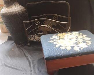 Foot stool, vase, magazine rack