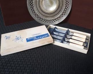 Silverplate platter and Steak knife set